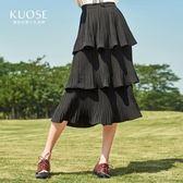 闊色春裝正韓女裝黑色中長款蛋糕裙百褶裙高腰半身裙預售