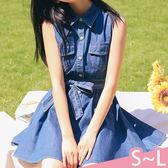 現貨-連衣裙-S-L韓版高腰綁帶無袖牛仔連衣裙Kiwi Shop奇異果0517【SZZ9000】