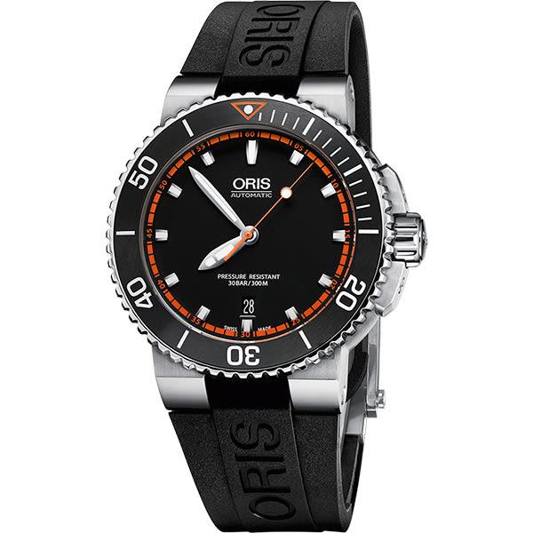 ORIS 豪利時 Aquis 時間之海潛水機械腕錶-黑x橘秒針/43mm 0173376534128-0742634EB