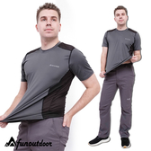 男款冰涼透氣導管超輕彈雙色拼接機能速乾圓領短袖上衣(D1605 灰黑)【戶外趣-年度新款】