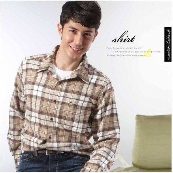 【大盤大】(S71798) 男 純棉襯衫 零碼2XL號 格紋襯衫 長袖上衣 厚 休閒衫 居家 父親節 教師節