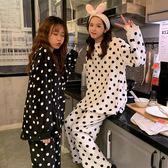 秋冬韓版少女甜美可愛絨面波點長袖睡衣睡褲兩件套家居服套裝女士