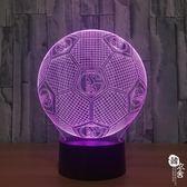 足球智能家居USB供電led燈3D創意 加工定制七彩小夜燈808【韓衣舍】