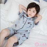兒童睡衣夏季薄款男童棉質短袖中大童家居服小男孩夏天空調服套裝