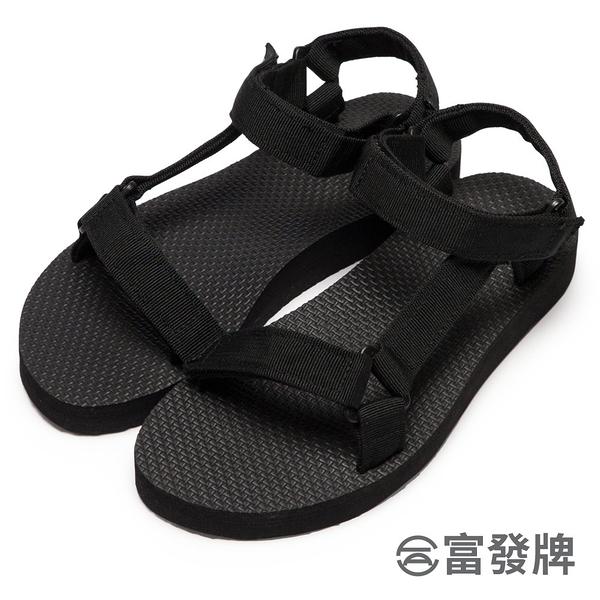 【富發牌】輕盈帆布工字涼鞋-黑 1ML11