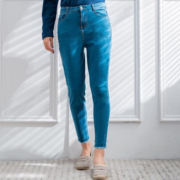 鉛筆褲--時尚潮流顯高顯瘦仿舊刷破毛邊口袋百搭小腳牛仔長褲(藍XL-5L)-N77眼圈熊中大尺碼