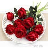 仿真玫瑰花單支 假玫瑰花仿真花束 客廳擺設裝飾花塑料花絹花假花QM   JSY時尚屋