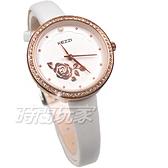 KEZZI珂紫 優雅造型 玫瑰花美鑽 皮革錶帶手錶 女錶 防水手錶 學生手錶 白色 KE2087玫白