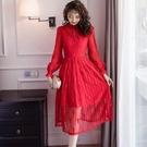 淑女優雅親膚蕾絲加絨加厚立領及膝裙洋裝/尾牙/宴會[98958-QF]美之札