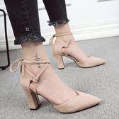尖頭高跟鞋早春側空綁帶涼鞋夏季新款韓版粗跟尖頭高跟鞋女性感百搭女鞋 雲雨尚品