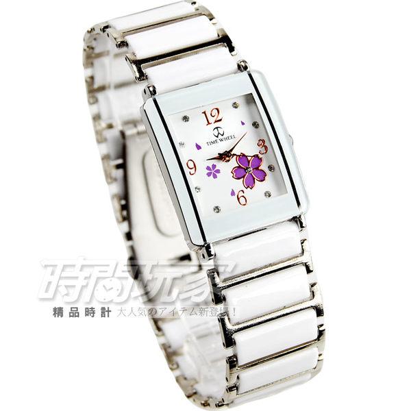 TIME WHEEL 櫻花錶盤設計 陶瓷錶 女錶 白色 方形 數字錶 TW-046櫻方白M