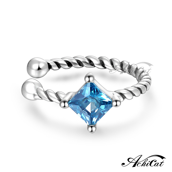 AchiCat 925純銀耳環 純銀飾 甜美可愛 耳夾式耳環 方鑽藍鋯GS08058