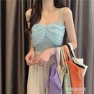 蕾絲拼接針織小吊帶背心女內搭夏季2021新款設計感小眾外穿打底衫 小宅妮