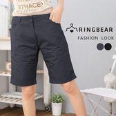 中大尺碼--完美顯瘦修飾前斜車線下襬反折素面五分褲(黑.灰M-6L)-R84眼圈熊中大尺碼◎