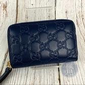 BRAND楓月 GUCCI 古馳 447939 深藍色GG壓紋 拉鍊短夾 錢包