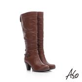 A.S.O 保暖靴  真皮抓皺飾釦後拉鍊高跟長靴  咖啡