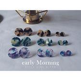 ♚獨家♚ early Morning - M號 春夏 大理石紋壓克力圓圈耳環 摩登 【NUM013】