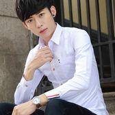 襯衫 商務素色長袖襯衫男士正韓修身型休閒白色襯衣潮男裝寸衫衣服【99狂歡8折購物節】