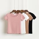 短袖T 夏裝甜美木耳邊純色修身短款T恤女圓領套頭短袖打底衫上衣 快速出貨