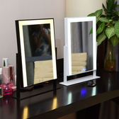 Z-大號台式帶燈化妝鏡便攜式LED燈鏡高清化妝鏡子方形補光梳妝鏡子【46*60雙色無極光】