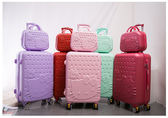 【ChenWorld】買大送小 KITTY貓愛心圖案 子母行李箱 密碼鎖旅行箱 20寸登機箱+14吋化妝箱
