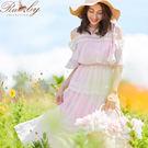 洋裝 露肩透膚刺繡層次無袖長洋裝-粉紅色...