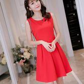 洋裝-春夏新款韓版顯瘦純色女裝修身大碼無袖時尚百搭連身裙 Korea時尚記