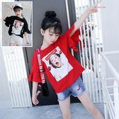 *╮S13小衣衫╭*中大童女孩海報印花喇叭袖上衣1070612