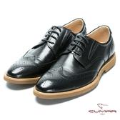 CUMAR 超輕舒適 舒適寬楦牛津皮鞋-黑色