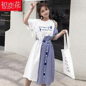 少女小清新裙子夏裝高中學生韓版中長款不規則露肩連身裙