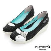 PLAYBOY永恆經典 GOPLAY方塊格紋娃娃鞋-黑(女)