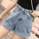 【GZ45】S17#實拍夏季新款牛仔短褲女韓版寬鬆顯瘦時尚卷邊高腰褲