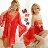 情趣睡衣 情趣用品 性感內衣 情靡今夜!中國風緞面柔紗三件式睡袍組﹝紅﹞【531251】