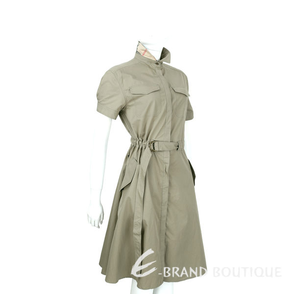BURBERRY 格紋翻領細節設計軍裝短袖洋裝(軍綠色) 1620724-C9