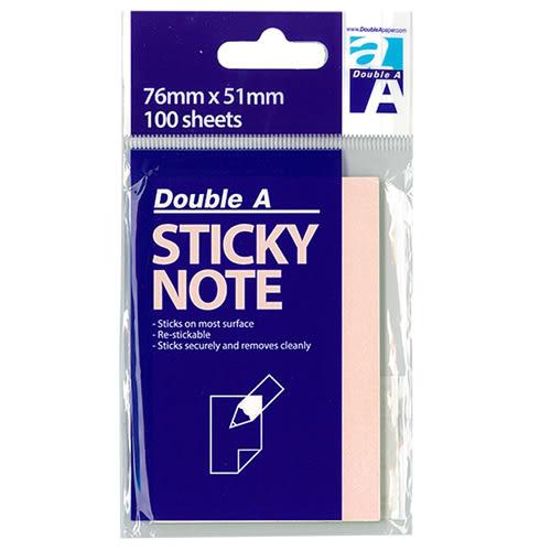 【Double A 便條紙】 15003 粉紅 76x51mm 便利貼 (100張/包)