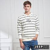 【JEEP】雙色細條紋長袖連帽TEE (白)