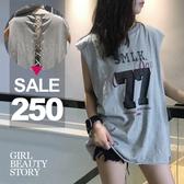 SISI【T8036】潮味時尚休閒字母印花寬鬆圓領中長款背綁帶無袖上衣