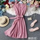 亞麻洋裝 法式復古紅色條紋輕熟風連身裙短袖女夏小個子收腰顯瘦氣質短裙子 韓菲兒