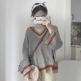 針織上衣 氣質簡約撞色V領長袖針織衫 巴黎春天