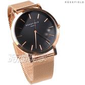 ROSEFIELD 歐風美學 時尚簡約 圓形 米蘭帶 不銹鋼 女錶 防水手錶 玫瑰金x黑 MBR-M45