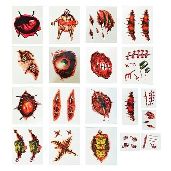 節慶王【W278941】3D恐怖紋身貼紙(隨機出貨不挑款),萬聖/紋身/派對/角色扮演/化妝舞會/表演