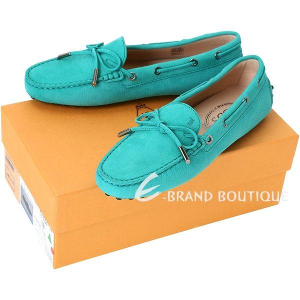 TOD'S Gommino 磨砂牛皮綁帶豆豆休閒鞋(女鞋/水綠色) 1420147-A1