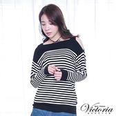 Victoria 挖肩設計條紋長袖線衫-黑-V6510088
