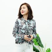 闕蘭絹 獨特花紋小荷葉蠶絲雪紡襯衫-6016(綠色)
