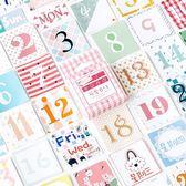 【BlueCat】陌墨可愛日付紅格子盒裝貼紙 手帳貼紙 (45入)