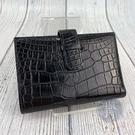 BRAND楓月 HERMES 愛馬仕 G刻 黑色 亮面 鱷魚皮 二折 對折短夾 皮夾 錢夾 錢包