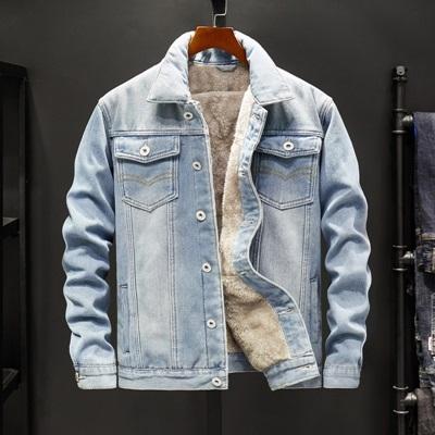 牛仔外套-翻領寬鬆休閒加絨男丹寧夾克2色73wu1[時尚巴黎]