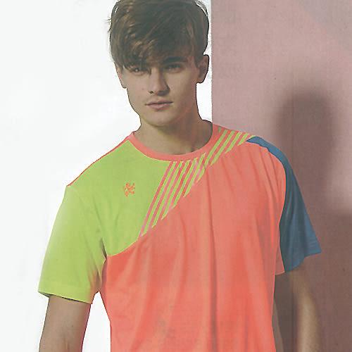 MILD STAR 男女吸濕排汗短T恤-螢橘#AS700302