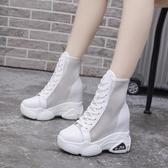鏤空馬丁靴女夏季靴子透氣百搭瘦瘦靴夏天涼靴內增高網面短靴 【快速出貨】
