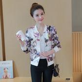 西裝外套 8083#新款 韓版長袖棒球服印花夾克 短款外套薄上衣女 俏女孩